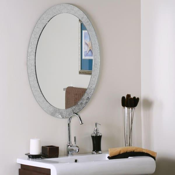 H Frameless Oval Bathroom Vanity Mirror, Silver Bathroom Mirrors