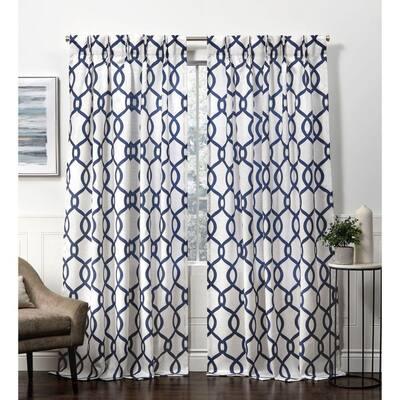 Indigo Trellis Pinch Pleat Room Darkening Curtain - 27 in. W x 96 in. L