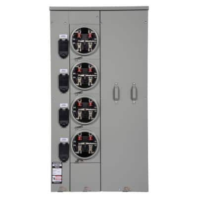 Uni-PAK 4-Gang 400 Amp Ringless-Style Multi-Family Metering with Horn Bypass
