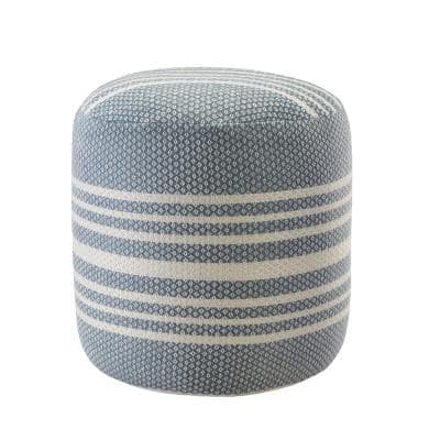 Simple Stripe Blue / White 20 in. Indoor Outdoor Pouf