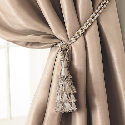 Charlotte 24 in. Tassel Tieback Rope Cord Window Curtain Accessories in Ivory