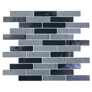 Landscape Goby Gray Linear Mosaic 1 in. x 4 in. Textured Glossy Glass Pool Tile (1.04 Sq. ft.)
