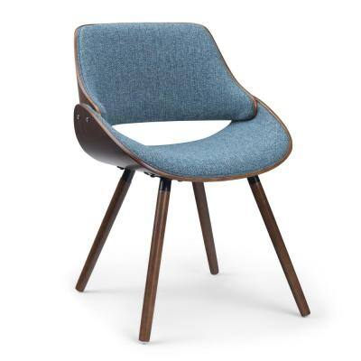 Malden Denim Blue Bentwood Parsons Dining Chair with Wood Back