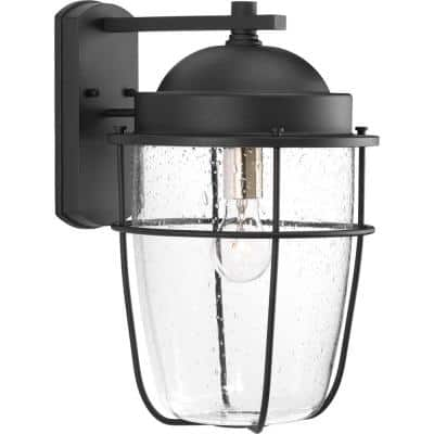 Holcombe Collection 1-Light Textured Black Clear Seeded Glass Farmhouse Outdoor Large Wall Lantern Light