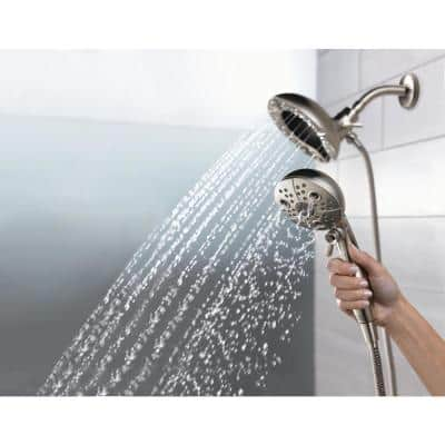 In2ition Two-in-One 5-Spray 6.6 in. Dual Wall Mount Fixed and Handheld H2Okinetic Shower Head in Stainless