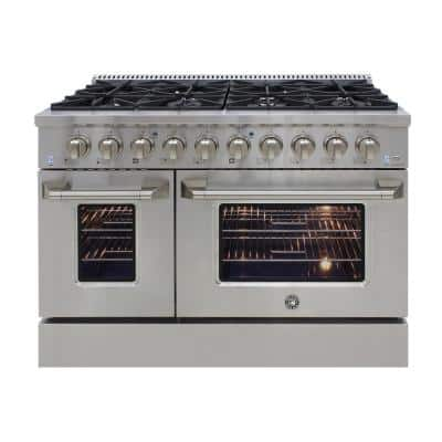 48 in. Double Oven 3.5 and 2 cu. ft. Gas Range in Stainless Steel