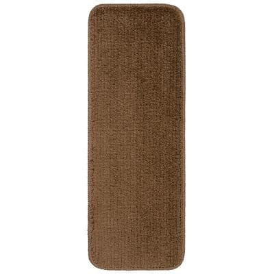 Luxury Collection Brown 9 in. x 26 in. Rubber Back Plush Stair Tread (Set of 5)