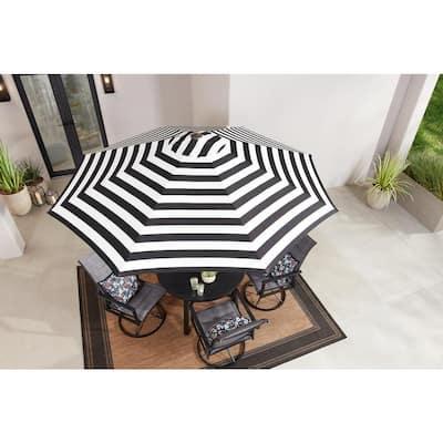 9 ft. Aluminum Market Crank and Tilt Patio Umbrella in Black and White Cabana