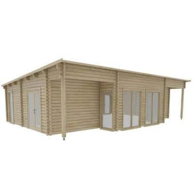 Nordic J68 692 sq. ft. Log Cabin Pool Garden House D.I.Y. Building Kit