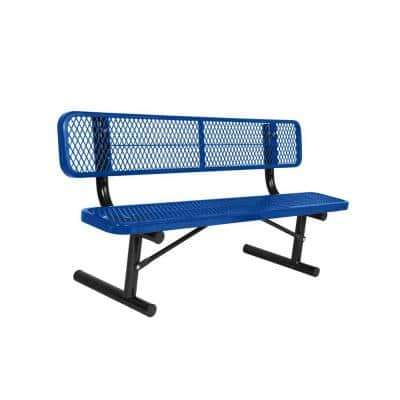 Portable 6 ft. Blue Diamond Commercial Park Bench with Back