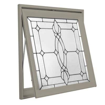 27.25 in. x 27.25 in. Decorative Glass Spring Flower Nickel Caming Driftwood Awning Vinyl Window