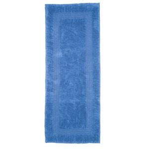 Blue 2 ft. x 5 ft. Cotton Reversible Extra Long Bath Rug Runner