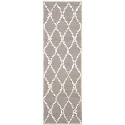 Cambridge Dark Gray/Ivory 3 ft. x 12 ft. Border Geometric Interlaced Runner Rug