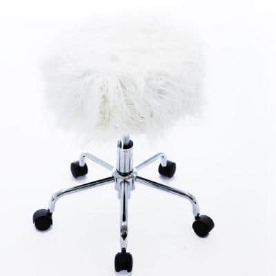 Elegant 22.8 in. White Upholstered Swivel Office Stool Faux Fur Stool With Adjustable Height