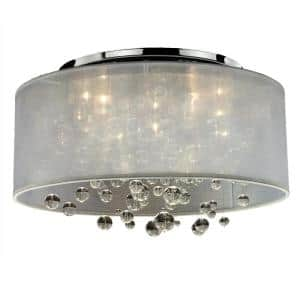 Silhouette 21 in. 5-Light W White Drum Shaded Beaded Crystal and Chrome Flush Mount
