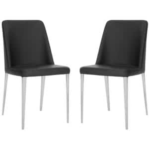 Baltic Black Bicast Leather Dining Chair (Set of 2)
