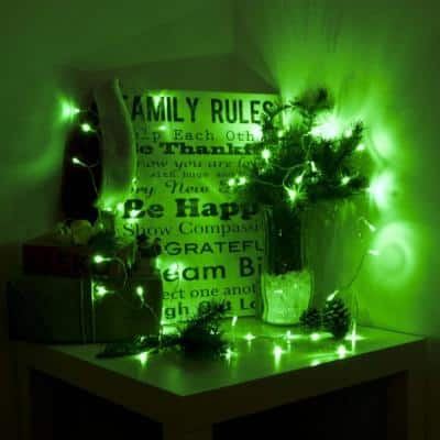 10 ft. 30-Light LED Green Battery Operated String Lights