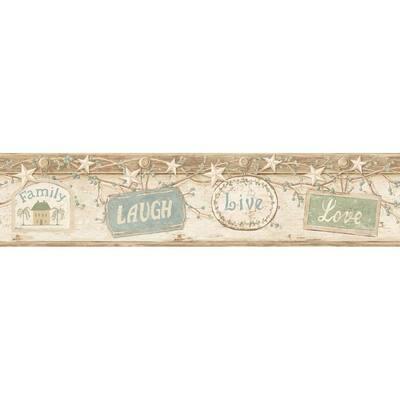 Kinsey Cream Live Laugh Love Cream Wallpaper Border