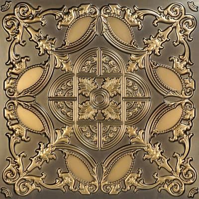 Golden Prague Antique Gold 2 ft. x 2 ft. PVC Glue-up Faux Tin Ceiling Tile (100 sq. ft./case)