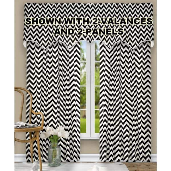 Ellis Curtain Reston 17 In L Cotton Lined Scallop Valance In Black 730462115065 The Home Depot
