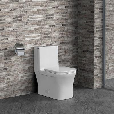 Concorde 1-Piece 0.8/1.28 GPF Dual Flush Square Toilet in White