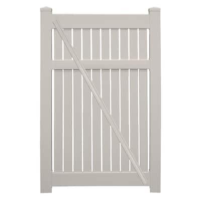 Huntington 3.8 ft. x 6 ft. Tan Vinyl Semi-Privacy Fence Gate Kit