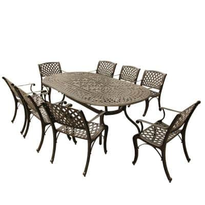 Contemporary Modern Mesh Lattice 9-Piece Bronze Aluminum Oval Outdoor Dining Set with 8-Arm Chairs