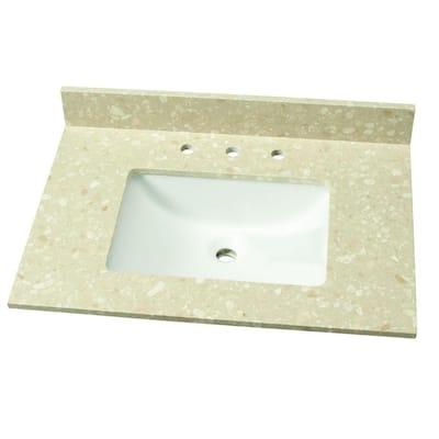 31 in. W Engineered Marble Single Vanity Top in Piatra Beige with White Sink