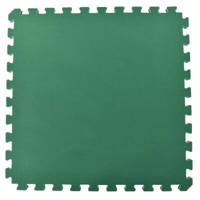 Home Sport 24 in. x 24 in. Green/Brown Foam Interlocking Home Exercise and Play Mats (15-Set)
