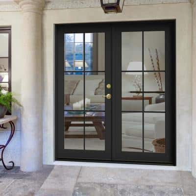 72 in. x 80 in. W-2500 Bronze Clad Wood Left-Hand 6 Lite French Patio Door w/Unfinished Interior