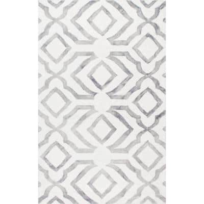 Brienne Geometric Gray 3 ft. x 5 ft.  Area Rug