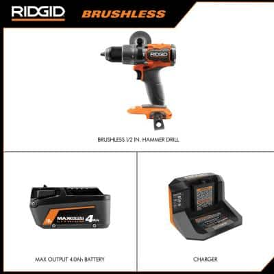 18V Brushless Cordless 1/2 in. Hammer Drill/Driver Kit with 4.0 Ah MAX Output Battery, 18V Charger, and Tool Bag