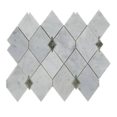 Lavaliere Harlequin Carrara White Polished 10 in. x 12 in. Marble Harlequin Mosaic Tile (0.69 sq. ft./Each)