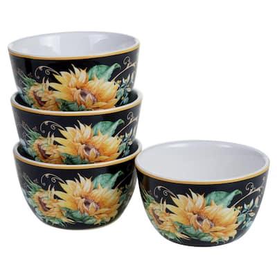 Sunflower Fields 4-Piece Seasonal Multicolored Earthenware 22 oz. Ice Cream Bowl Set (Service for 4)