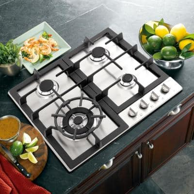 24 in. Gas Cooktop in Stainless Steel with 4 Sealed Burners