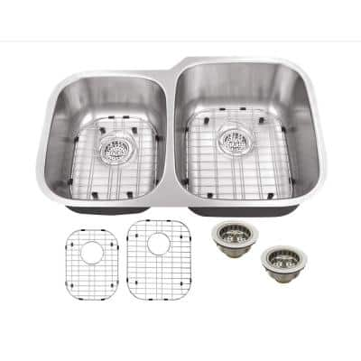 Undermount 16-Gauge Stainless Steel 31-1/2 in. 0-Hole 40/60 Double Bowl Kitchen Sink with Grid Set and Drain Assemblies