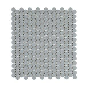 Cascades Flint 12.5 in. x 11.5 in. Penny Round Matte Porcelain Mesh-Mounted Mosaic Tile (1.00 sq. ft./Each)