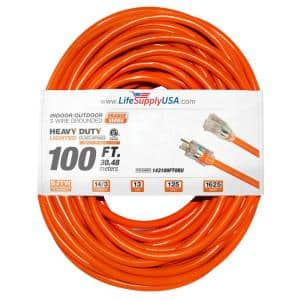 100 ft. 14/3 SJTW 15 Amp 125-Volt 1875-Watt Orange Indoor/Outdoor Heavy-Duty with Lighted End Extension Cord