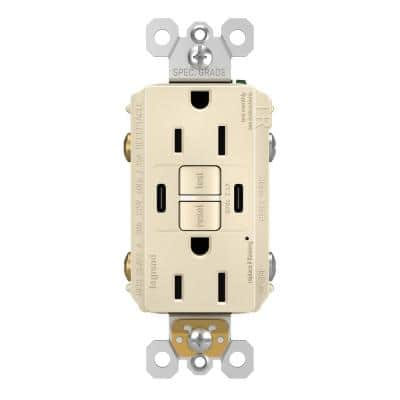 radiant 15 Amp 125-Volt Tamper Resistant Self-Test GFCI Duplex Outlet with Type C/C USB with Light Almond