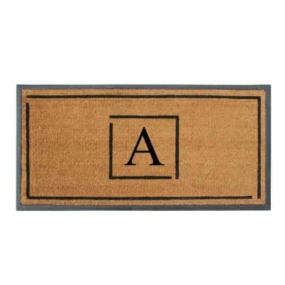 A1HC Hand-Crafted Black/Beige 24 in. x 48 in. Rubber Coir Perfect & More Functional Double/Single Monogrammed A Doormat