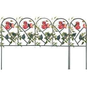 24 in. W x 18 in. H (5-Pack) & 6 in. W x 18 in. H (2-Pack) Dark Green Metal Garden Fence, Total Splicing Length 11.5 ft.