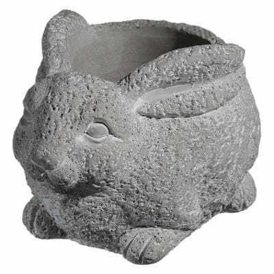 Cement Buddies Small Natural Cement Rabbit Planter