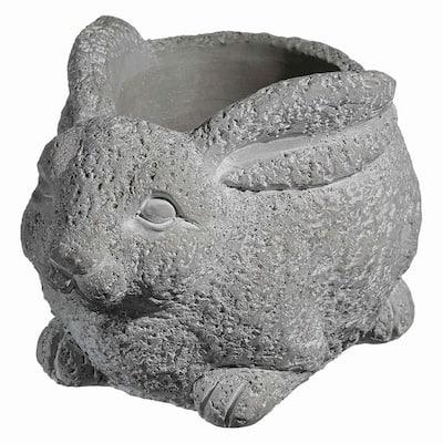 Cement Buddies Large Natural Cement Rabbit Planter