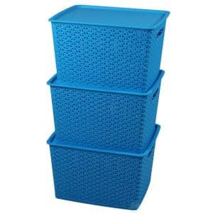 6.5 G. Blue Plastic Storage Container box with Lid, Set of 3