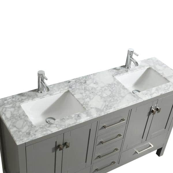 Eviva London 60 In X 18 In Transitional Gray Bathroom Vanity With White Carrara Marble And Double Porcelain Sinks Tvn414 60x18gr The Home Depot