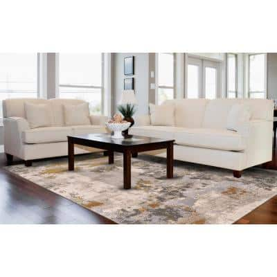 Vanhorn Golden Glow/Ivory 12 ft. x 15 ft. Abstract Polyester Area Rug