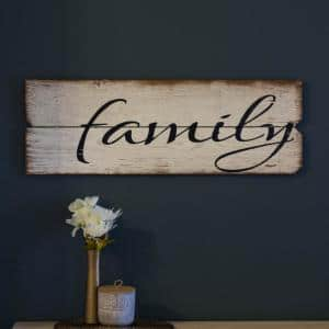 12 in. x 36 in. ''Family'' by Boulder Innovations Printed Wood Wall Art