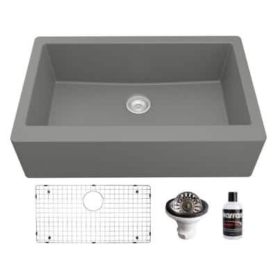 QA-740 Quartz/Granite 34 in. Single Bowl Farmhouse/Apron Front Kitchen Sink in Grey with Bottom Grid and Strainer