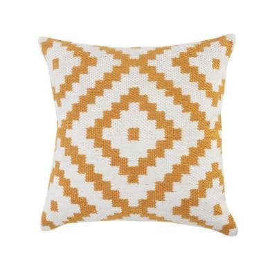 Robin 20 in. x 20 in. White/Yellow Geometric Square Outdoor Throw Pillow