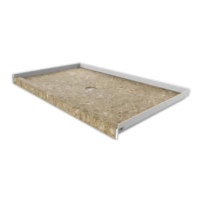 36 in. x 60 in. Single Threshold Shower Base with Center Drain in Petrafini